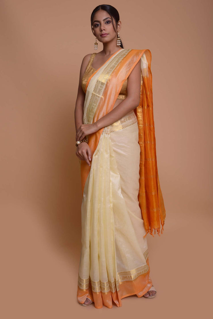 Shop online for Off White Cotton Silk Saree with Orange Border | Indian Artizans