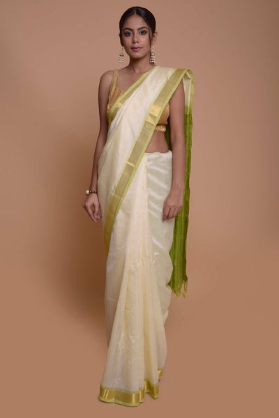 Shop online for Off White Cotton Silk Saree with Green Border | Indian Artizans