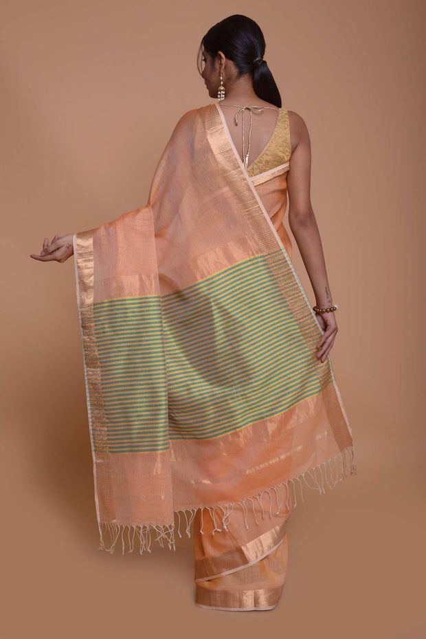 Shop online for Peach Maheshwari Cotton Silk  Saree | Indian Artizans