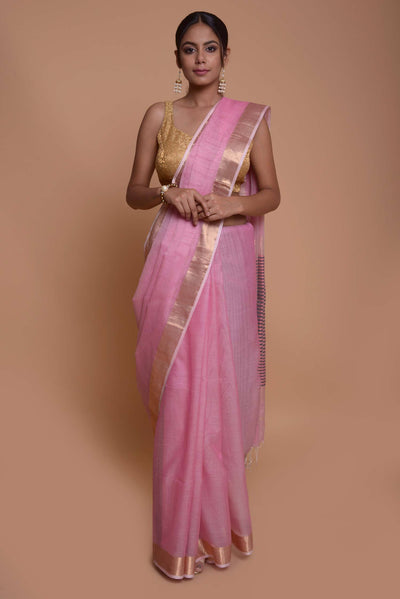 Shop online for Pink Maheshwari Cotton Silk  Saree | Indian Artizans