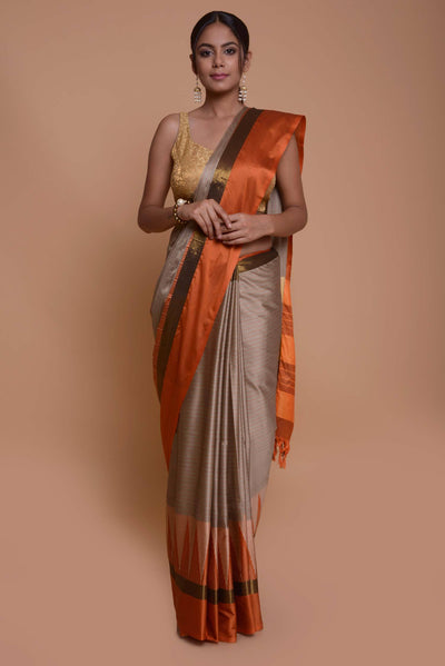 Shop online for Grey Raw Silk Saree | Indian Artizans