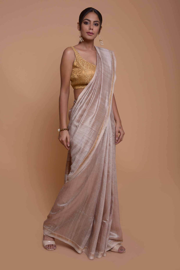Shop online Silver Mulberry & Dupion Silk Saree with Ghicha Pallu | Indian Artizans
