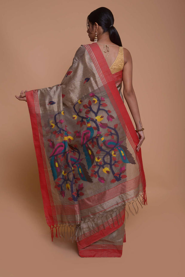 Shop online for Charcoal Grey Mulberry and Dupion Silk Saree with Jamadani weave pallu | Indian Artizans