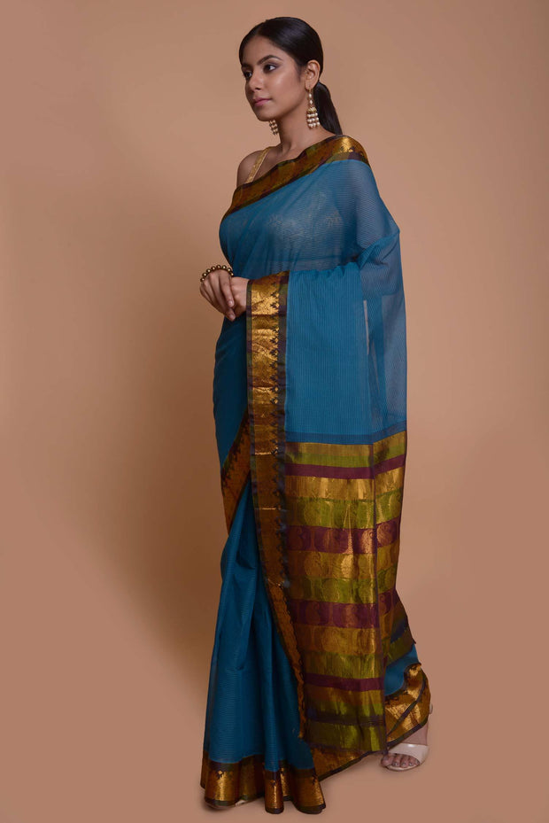 Shop online for Blue Gadwal Cotton Silk Saree | Indian Artizans