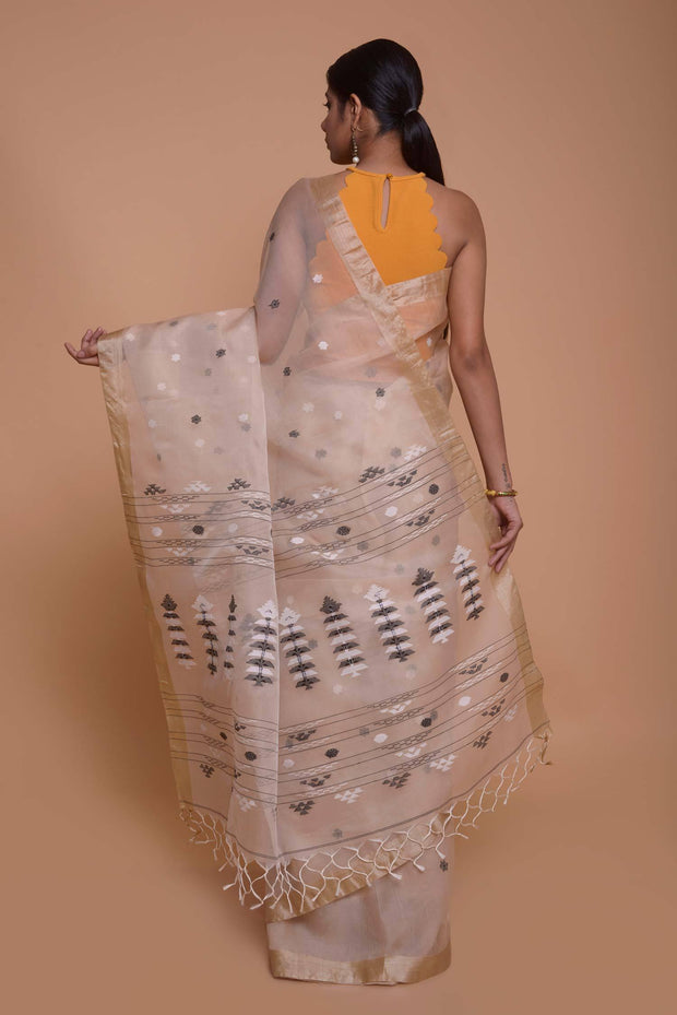 Shop online for Peach Organza Mulberry Silk Saree | Indian Artizans