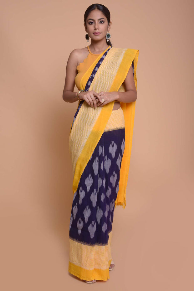 Shop online for Cobalt Blue & Yellow Ikkat Pochampally Saree | Indian Artizans
