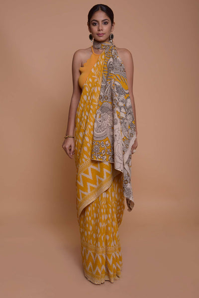 Shop online for Yellow Ikat Printed Saree with Kalamkari Pallu | Indian Artizans