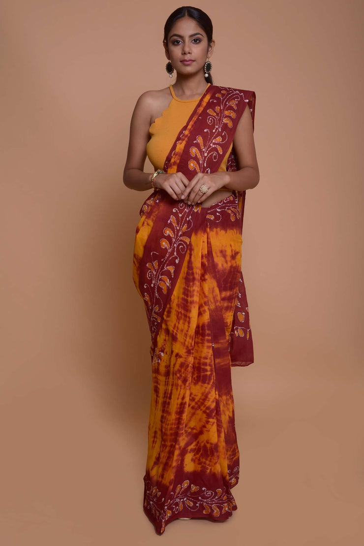 Shop online for Mustard Batik cotton Saree | Indian Artizans
