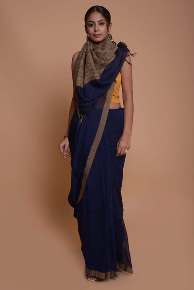 Shop online for Navy Bhagalpuri Gicha Silk Saree With Gicha Pallu | Indian Artizans