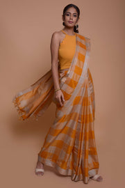 Shop online for Mustard Checks Linen Saree | Indian Artizans