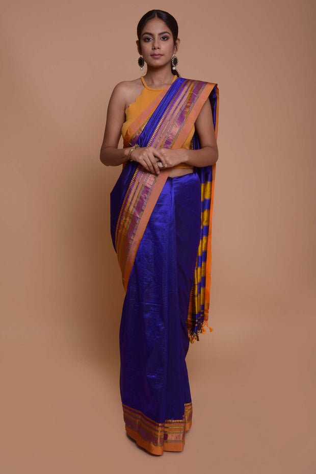 Shop online for Royal Blue Ilkal Saree with Mustard Border | Indian Artizans