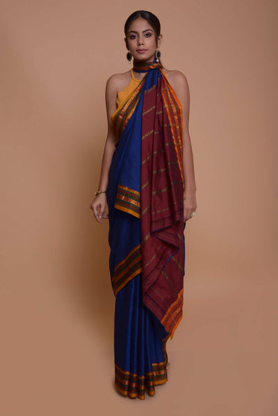 Shop online for Navy Blue Mangalgiri Saree with Mustard Border | Indian Artizans
