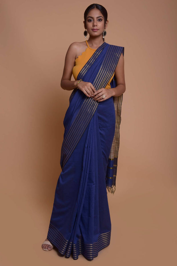 Shop online for  Deep Blue Ghicha Silk Saree with  Gold Striped Border | Indian Artizans