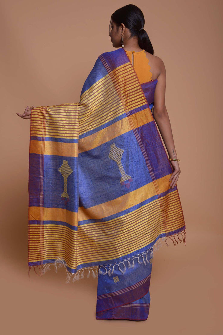 Shop online for Blue Dupion Sik Half and Half Bhagalpuri Silk Saree | Indian Artizans