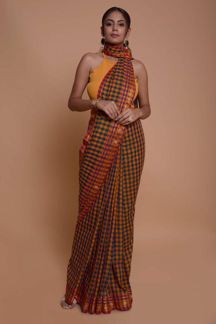 Shop online for Mustard and Blue Checks Coimbatore Cotton Saree | Indian Artizans