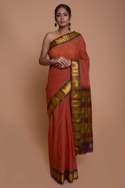 Shop online for Red Gadwal Cotton Silk Saree | Indian Artizans