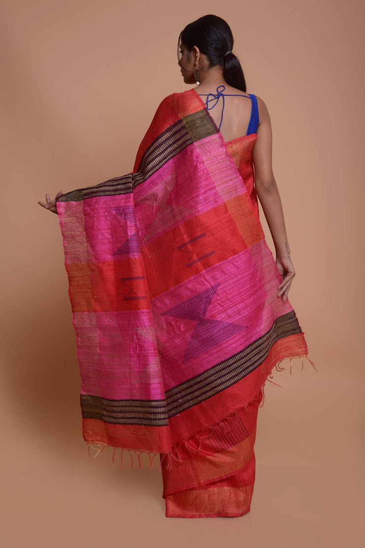 Shop online for Red Bhagalpuri Gicha Silk Saree With Pink Pallu | Indian Artizans