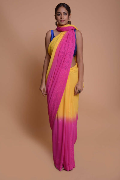 Shop online for Pink and Yellow Georgette Chikankari Saree | Indian Artizans