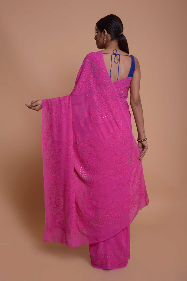 Shop online for Pink Chikankari Georgette Saree | Indian Artizans