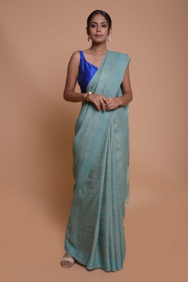 Shop online for Turquoise Linen and Tussar Silk Saree with Ghicha Pallu | Indian Artizans