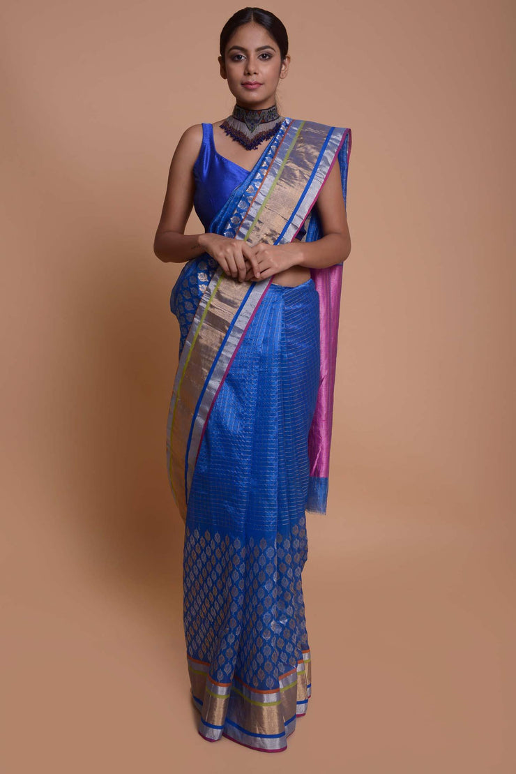 Shop Online for Blue Half and Half Chanderi Saree | Indian Artizans
