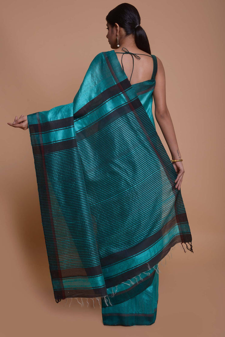 Shop online for Turquoise Ghicha Silk Saree with Black Border | Indian Artizans