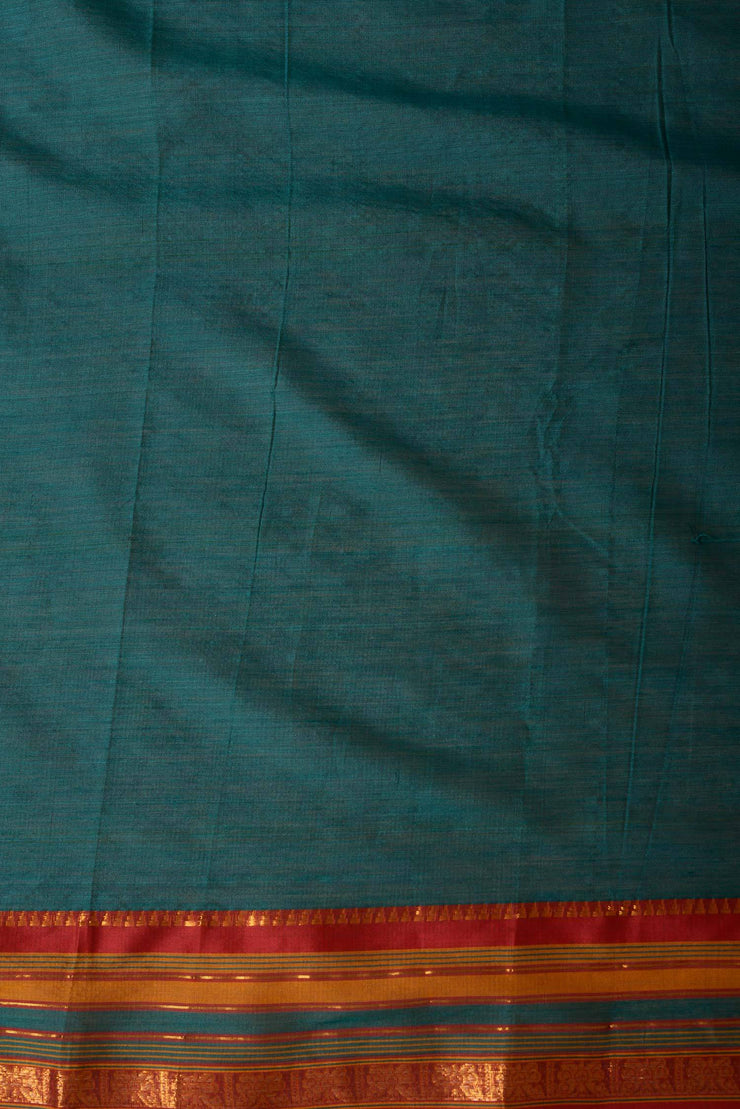 Shop online for Bottle Green Mangalgiri Saree with Mustard Border | Indian Artizans