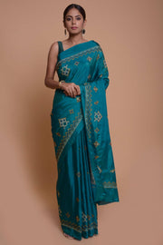 Shop online for Blue  Silk Blend Kasuti Embroidered Saree | Indian Artizans