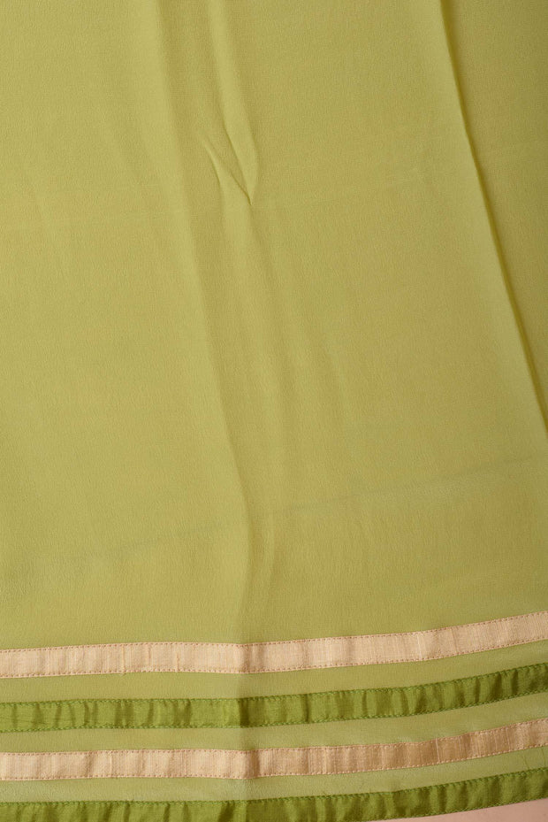 Shop online for Lime Green Crepe Saree with Kantha Embroidered Border | Indian Artizans