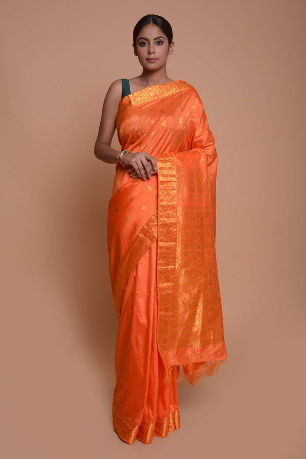 Shop online for Orange with Gold zari Buta Assamese Pat Silk Saree | Indian Artizans