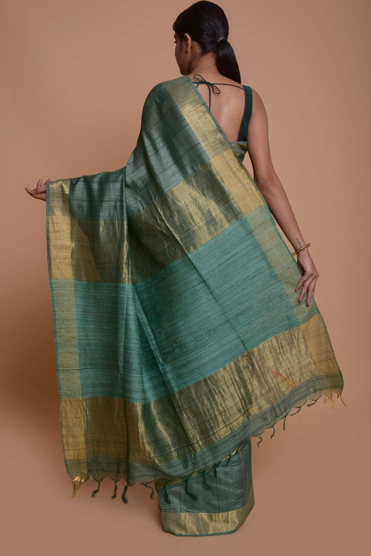 Shop online for Green Tussar Silk Saree with Ghicha Pallu | Indian Artizans