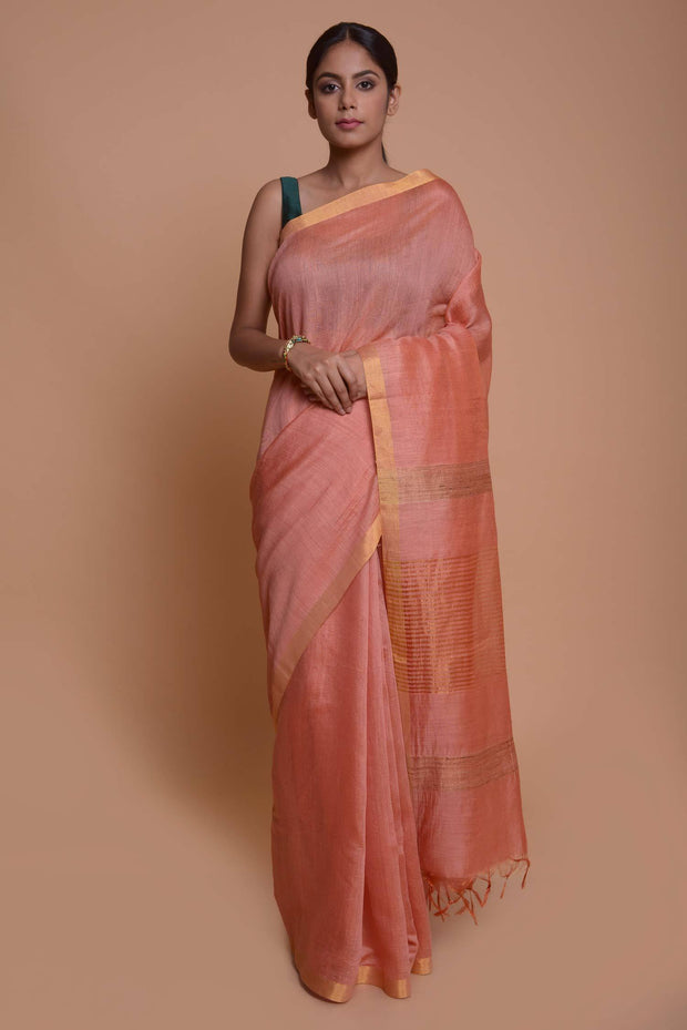 Shop online for  Pale Pink Tussar Sari with Ghicha Pallu | Indian Artizans