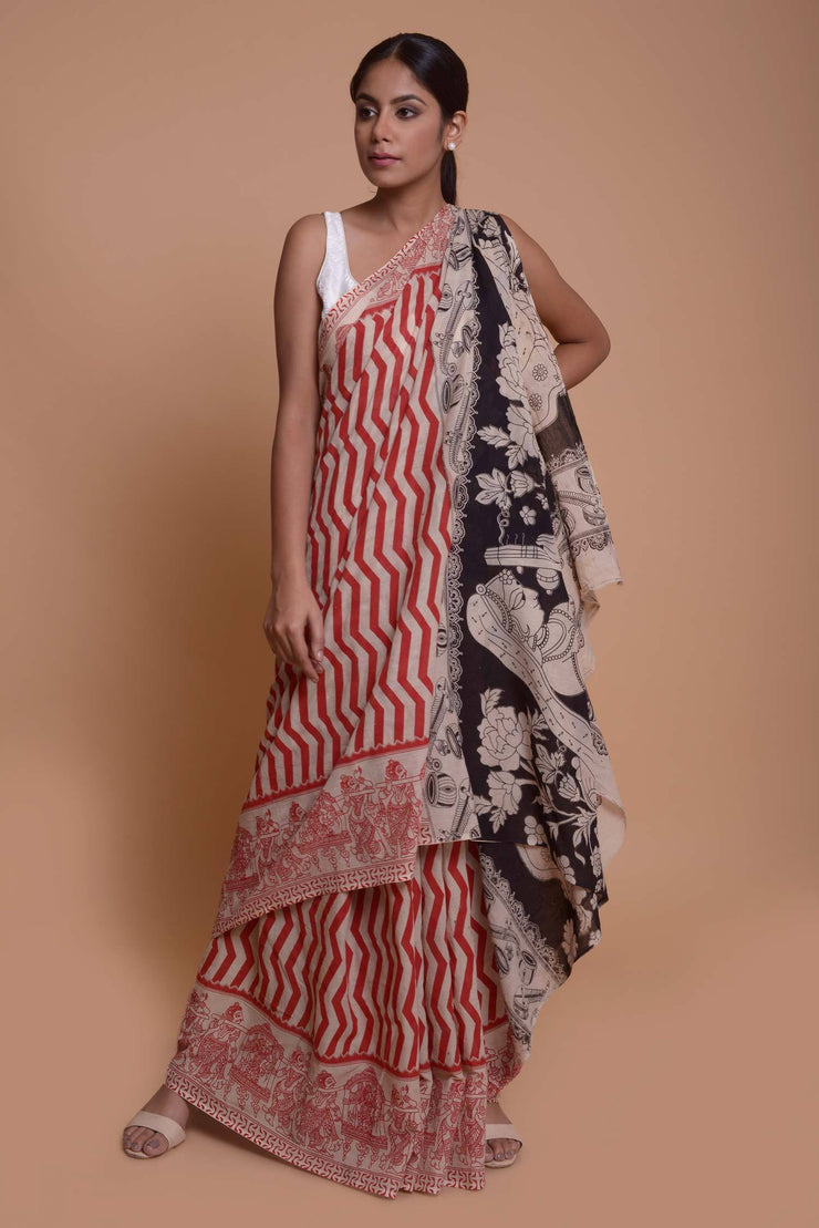 Shop online for Red Cotton Kalamkari Saree | Indian Artizans