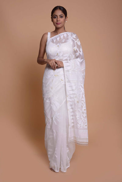 Shop online for White Jamdani Saree | Indian Artizans