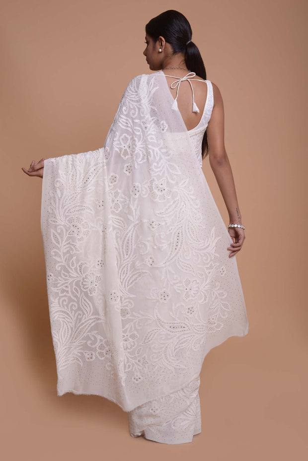 Pearl White Georgette Chikankari Saree with Mukaish Work