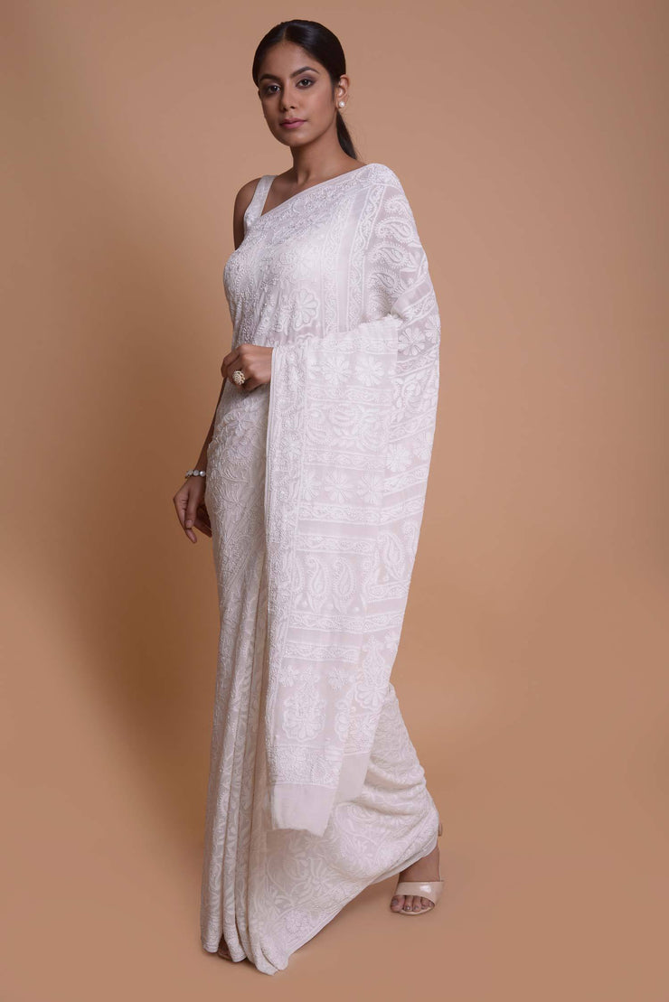 Shop online for Pearl White Georgette Chikankari Saree| Indian Artizans
