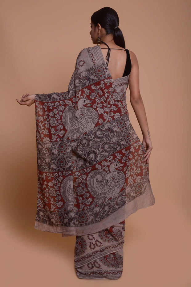 Shop online for Maroon Kalamkari Kota Cotton Saree | Indian Artizans