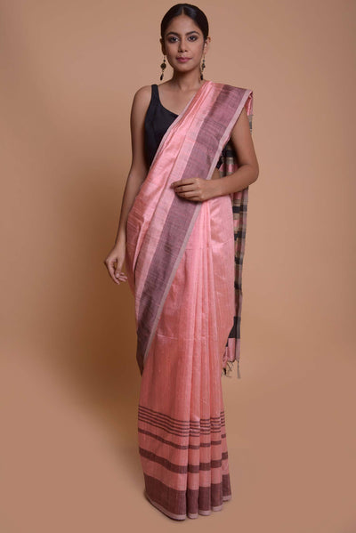 Shop online for Pink Mulberry and Dupion Silk Saree| Indian Artizans