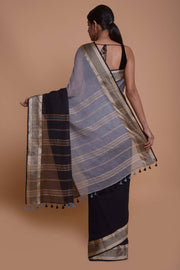 Shop online for Black and Grey Mulmul Saree | Indian Artizans