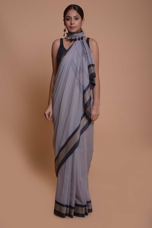 Shop online for Grey Mulmul Saree | Indian Artizans