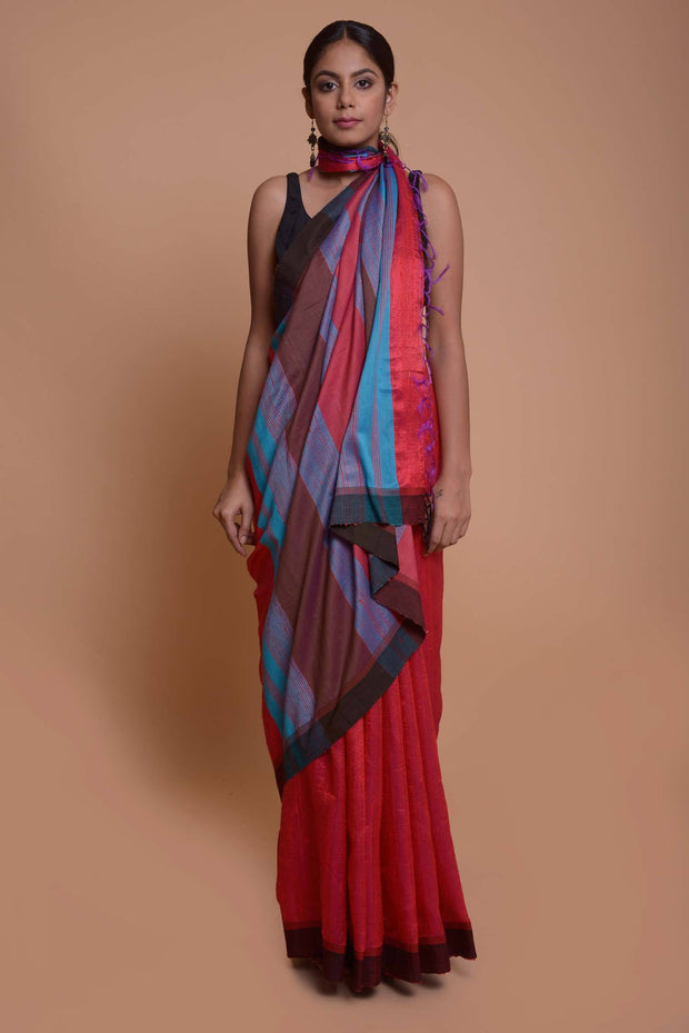 Shop online for Red Ghicha Silk Saree | Indian Artizans