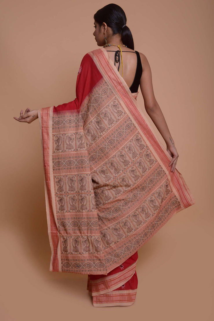 Shop online for Red Cotton Warli Embroidered Baluchari Saree | Indian Artizans
