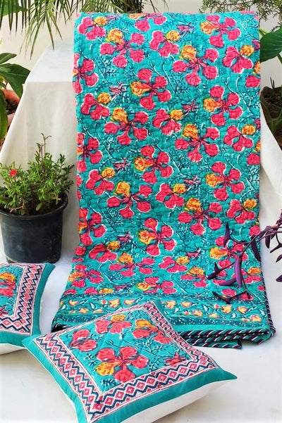 Block Printed Quilts for Double Beds with Matching Cushion Covers