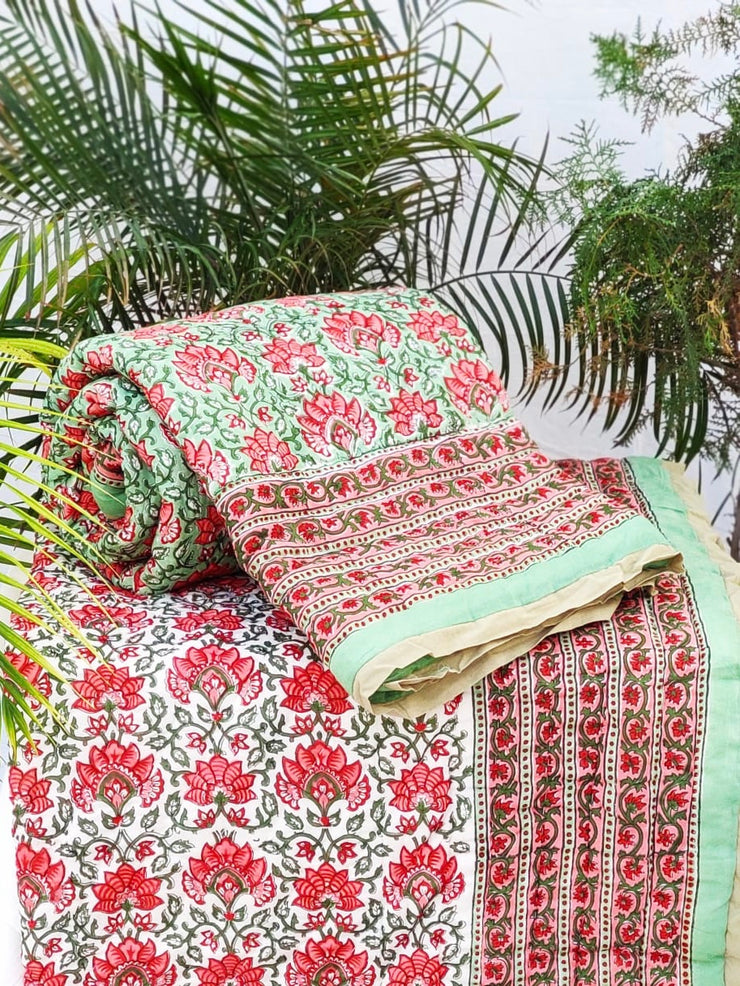 Reversible Block Printed Quilts for Single Beds