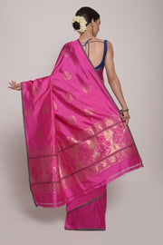 Saree, Banarsi Silk Saree, Handloom Saree, Indian Artizans, Fuschia Saree, Fushia Pink Sari