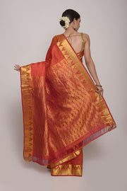 Shop Online for Fushia Pink & Orange Kanjeevaram Silk Saree | Indian Artizans