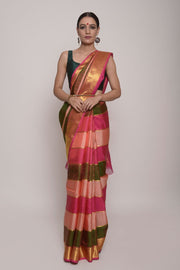 Shop Online for Pink & Green Kanjeevaram Silk Saree | Indian Artizans