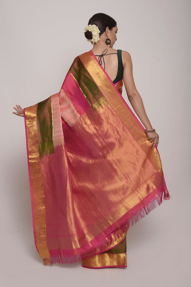 Pink and Green striped Kanjeevaram Silk Saree