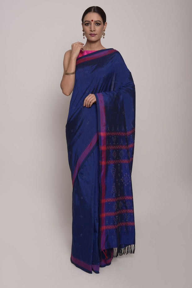 Saree, Tangalia Silk Saree, Handloom Saree, Indian Artizans, Deep Blue Saree