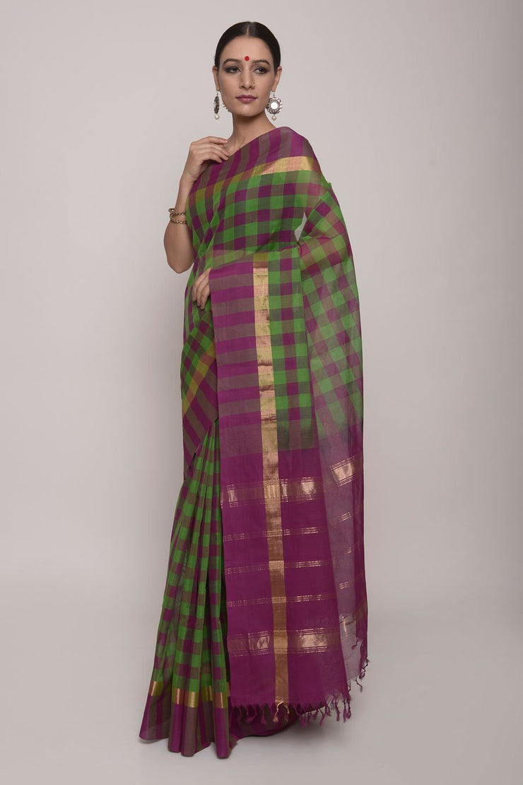 Shop Online for  Green and Purple  Cotton Saree | Indian Artizans
